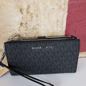 Michael kor double zip phone case wallet Black MK
